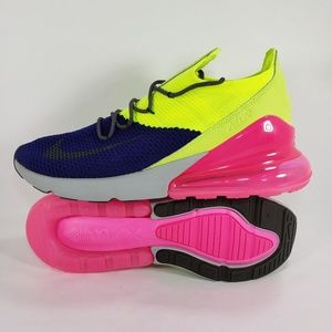 Nike Air Max 270 Flyknit Shoes Purple Volt Pink